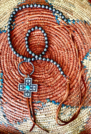 Conchita Cross Necklace on Silver Beads