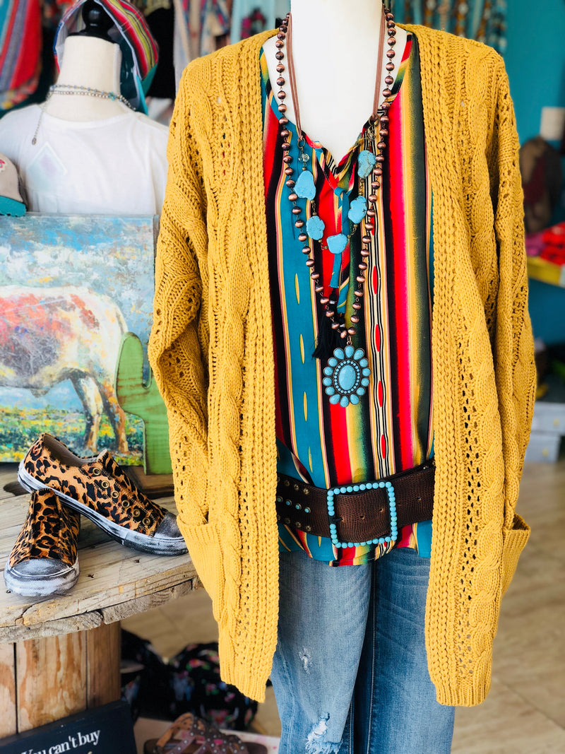 Our Best Mustard Cable Knit Cardi
