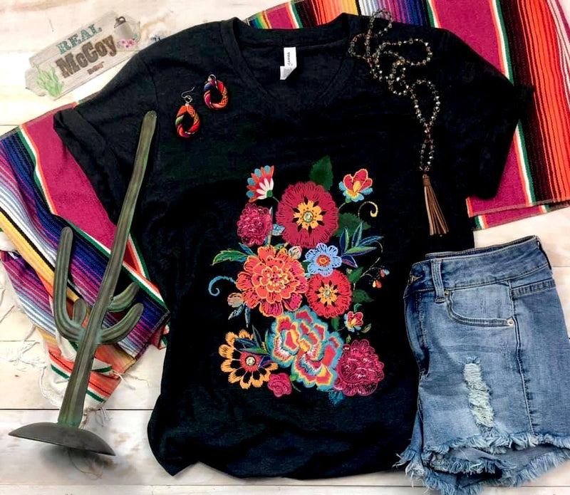 The Fiesta Flower V Neck Tee