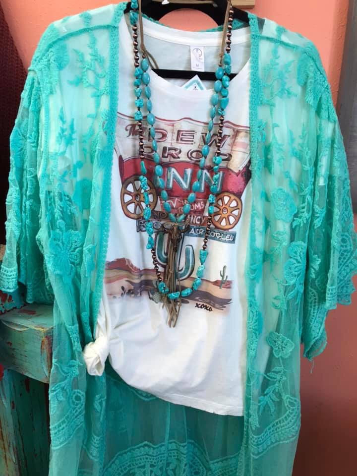 The West Of Tucson Turquoise Lace Kimono