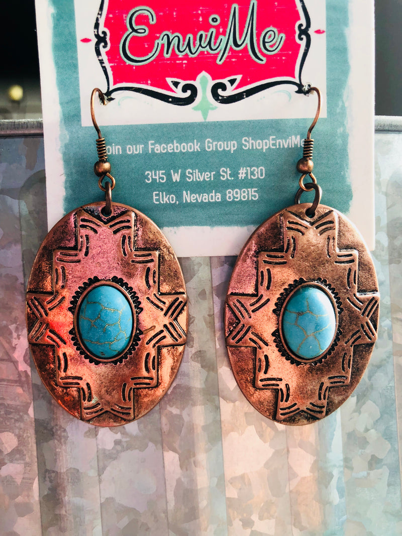 Copper & Turquoise Southwest Oval Earrings