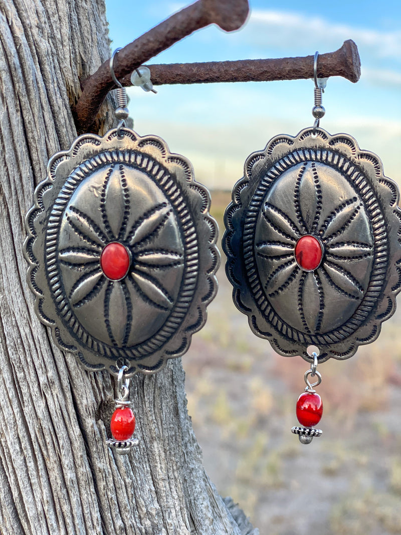 The Yachea Silver & Coral Concho Earrings