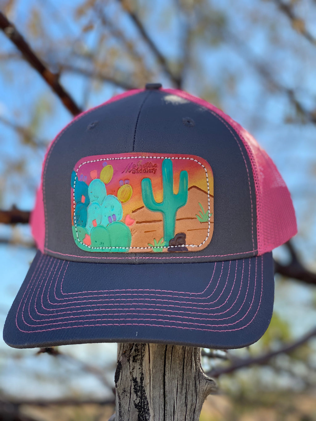 The Pink Cactus Leather Patch Cap