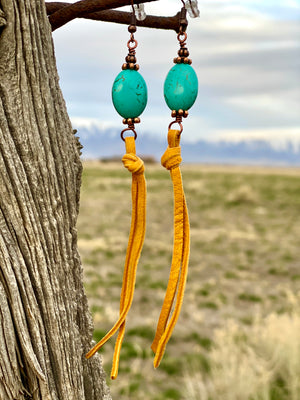 The Turquoise Stone Mustard Fringe Leather Earrings!