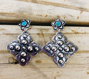 The Simental Silver & Turquoise Cross Earrings
