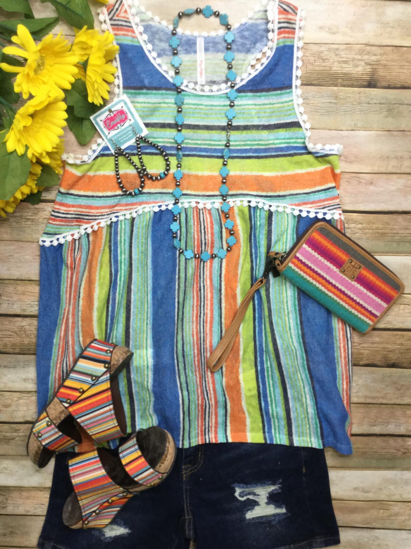 The Lagorio Blue Serape Stripe Top