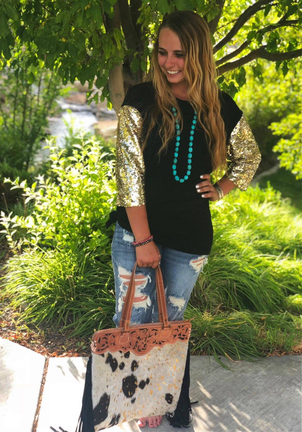 The Black Tie Gold Sequin Top