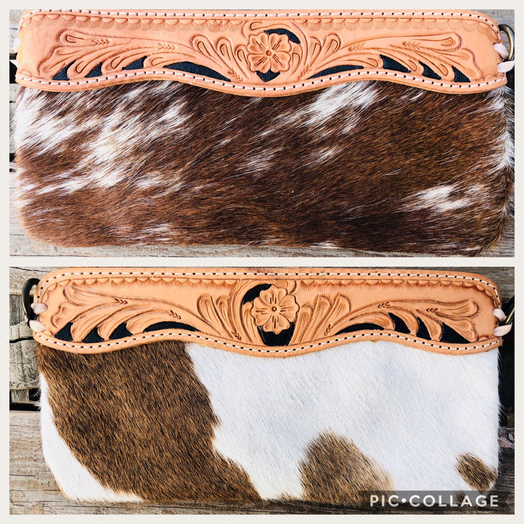 The Cowboss Tooled Leather Cowhide Clutch Crossbody