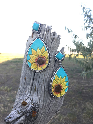 The Blue Sunflower Teardrop Earring