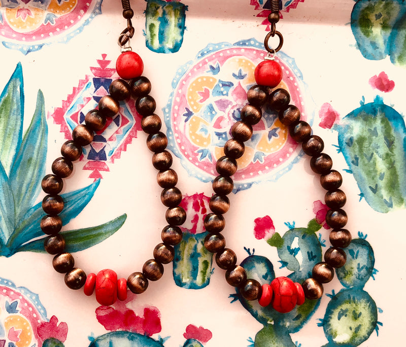 Navajo Pearl and Red Copper Loop Earrings