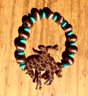 Copper Cheetah Bronc Stretchy Bracelet