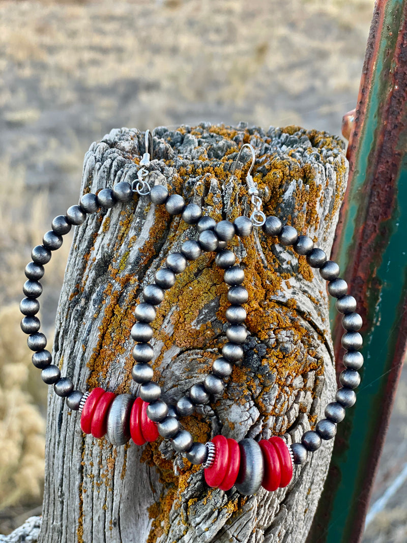 The Holiday Coral Navajo Pearl Loop Earrings