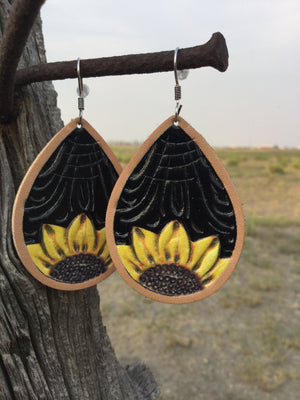 The Black Sunflower Teardrop Earring