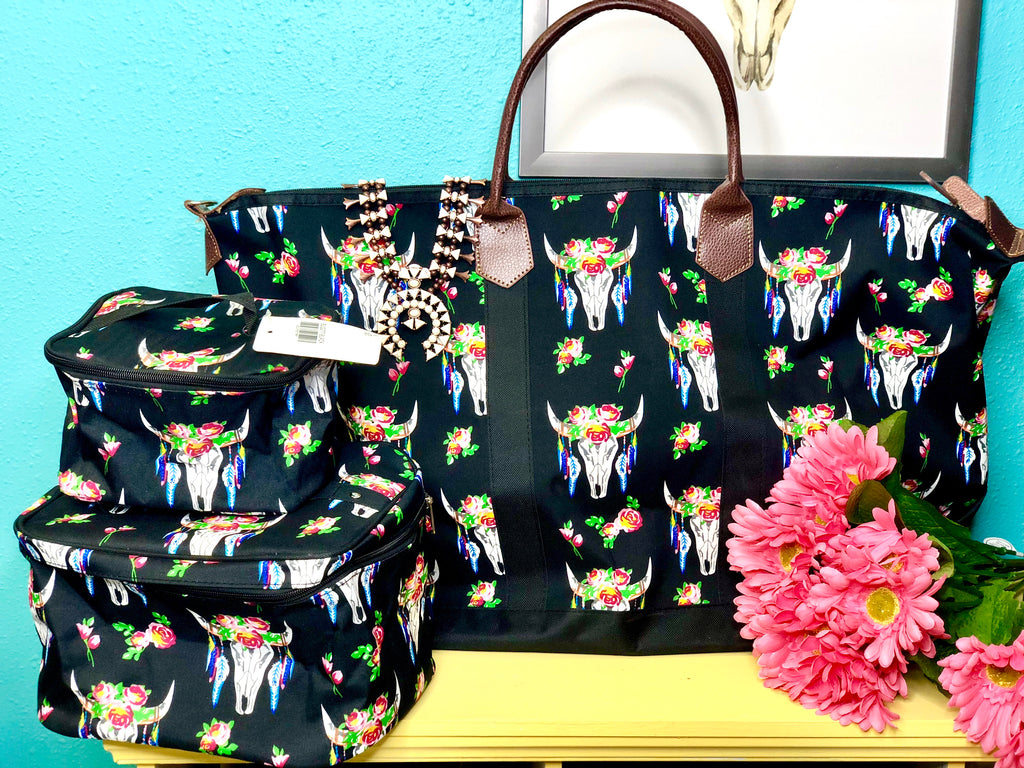 The Floral Steer Weekender Bag