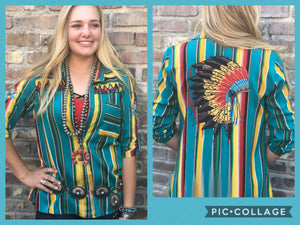 The Montana Chief Button Up Embroidered  Serape Top