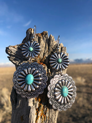 The Silver Concho Turquoise Center Earrings
