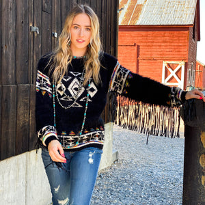 The Austin Aztec Fringe Sleeve Sweater