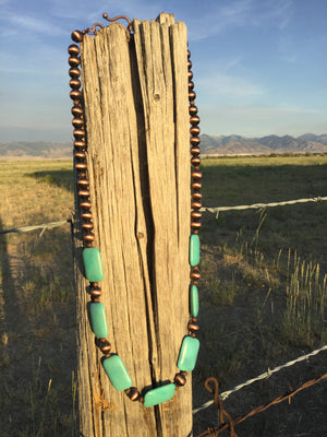 Copper Bead and Turquoise Chunk Necklace