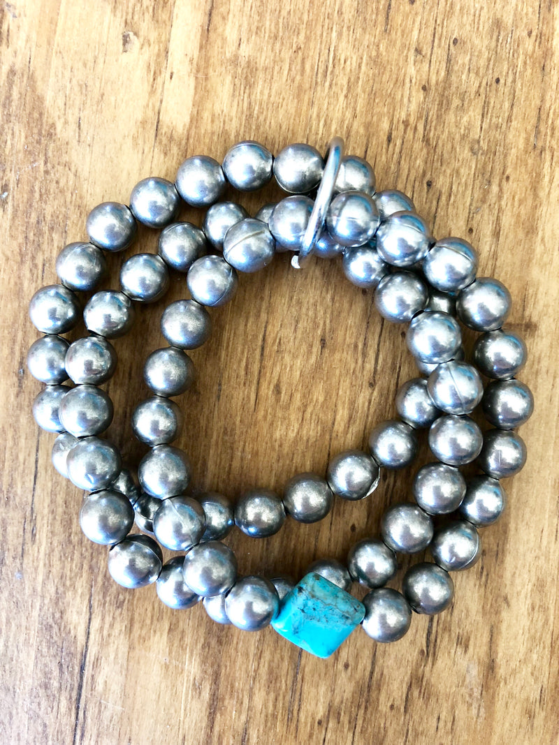 Silver & Turquoise Stone Navajo Pearl Stack Bracelets