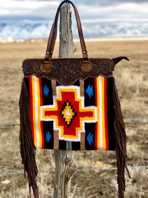 The Tahoe Navajo Cross Fringe Bag