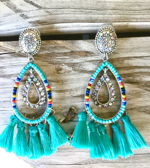 The Cleo Turquoise Fringe Earrings