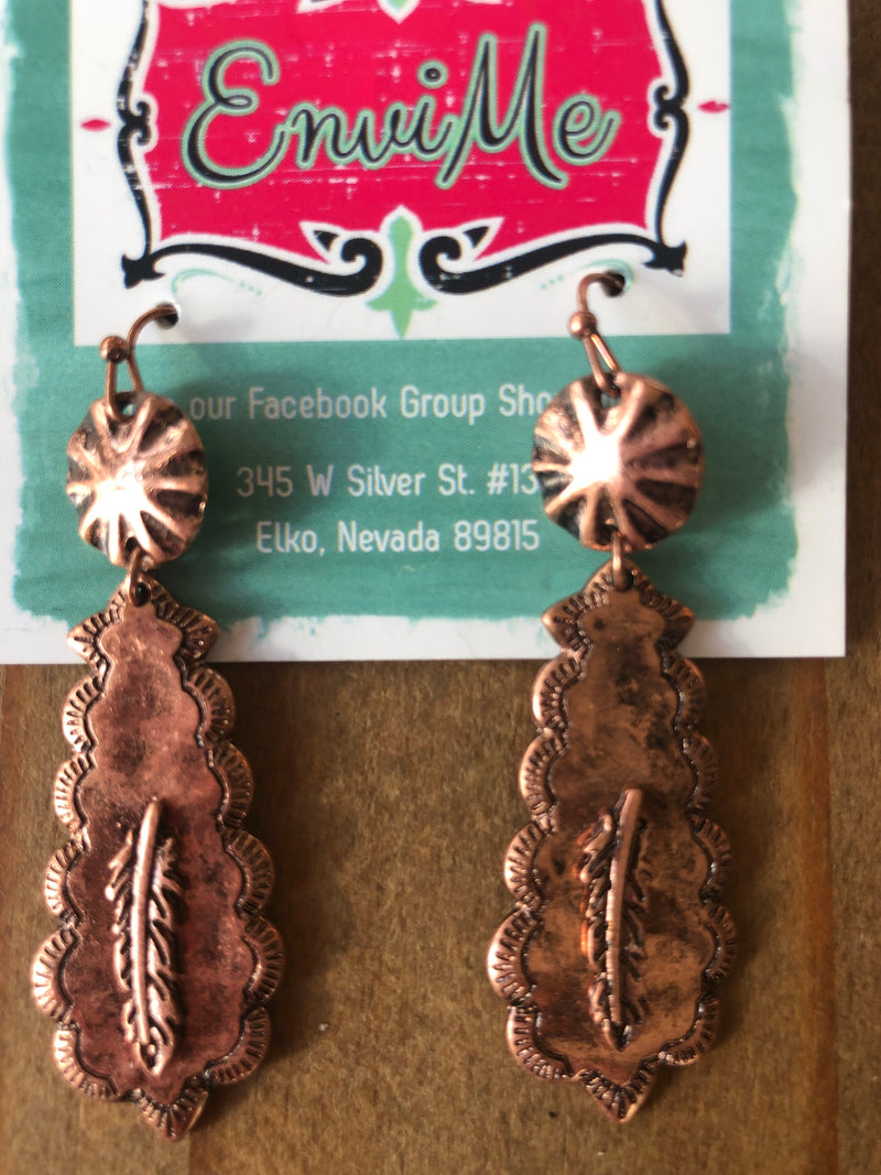 The Hamilton Southwest  Copper w Feather Earring