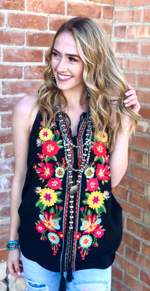 The Mesa Verde Embroidered Sleeveless Top