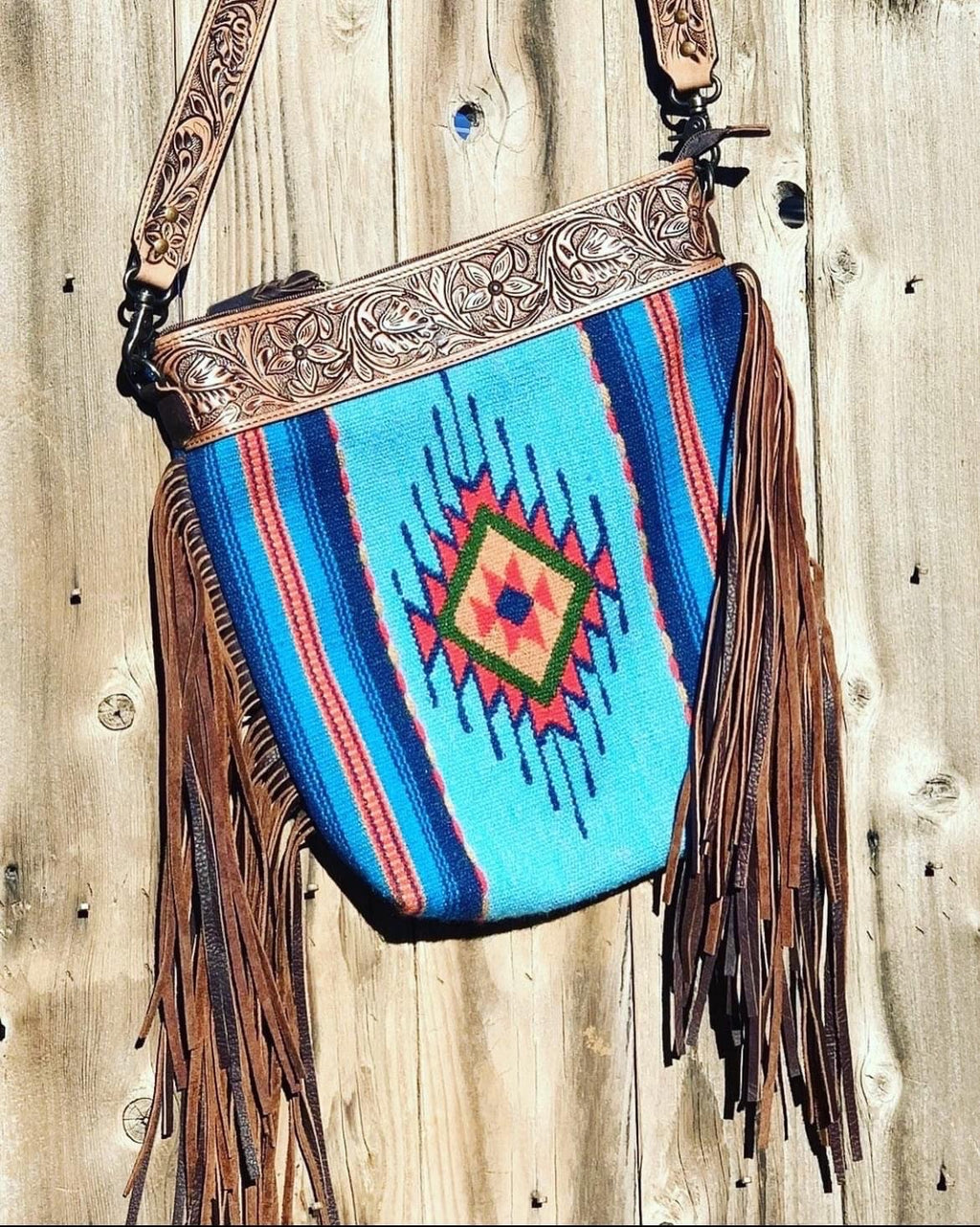 The Desert Drifter Tooled Leather Top Navajo Fringe Bag