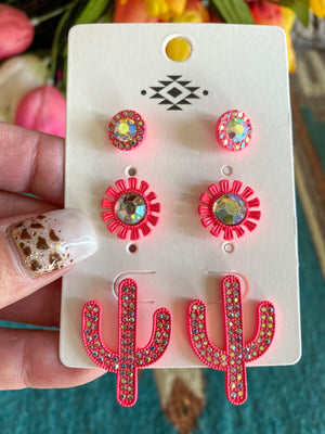 The Pink Cactus Earring Set