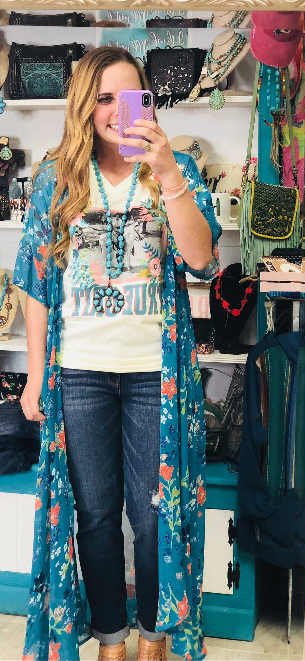 The Tupanata Turquoise  Floral Duster