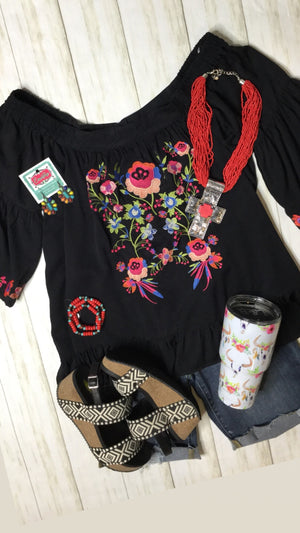 The Black Piñata Embroidered Top