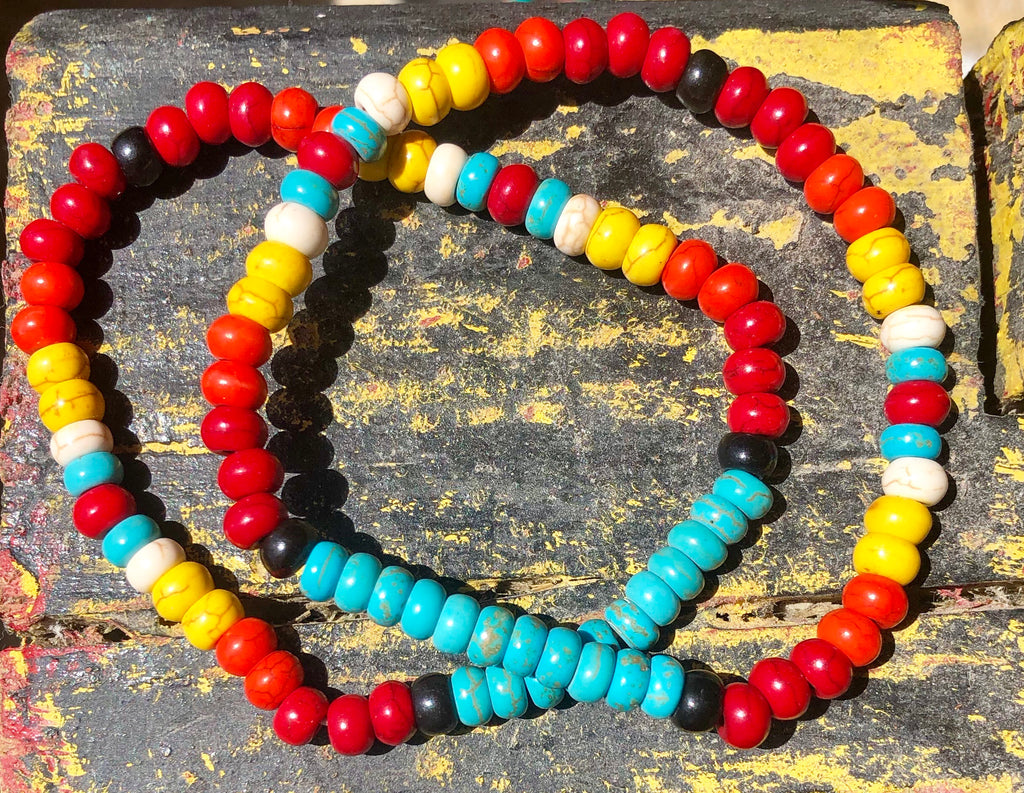 Multi Colored Bead Stretchy Bracelet