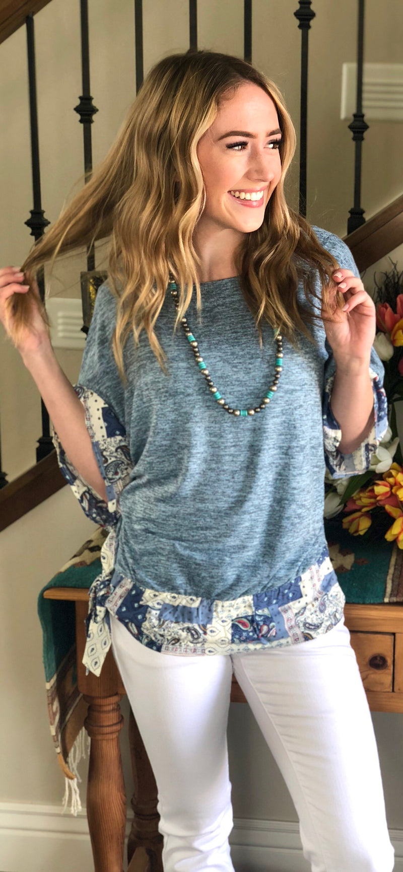 The Boho Blue Lagoon Tie Top