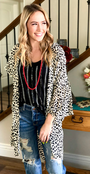 The Pretty Snow Kitty Leopard Print Kimono Duster