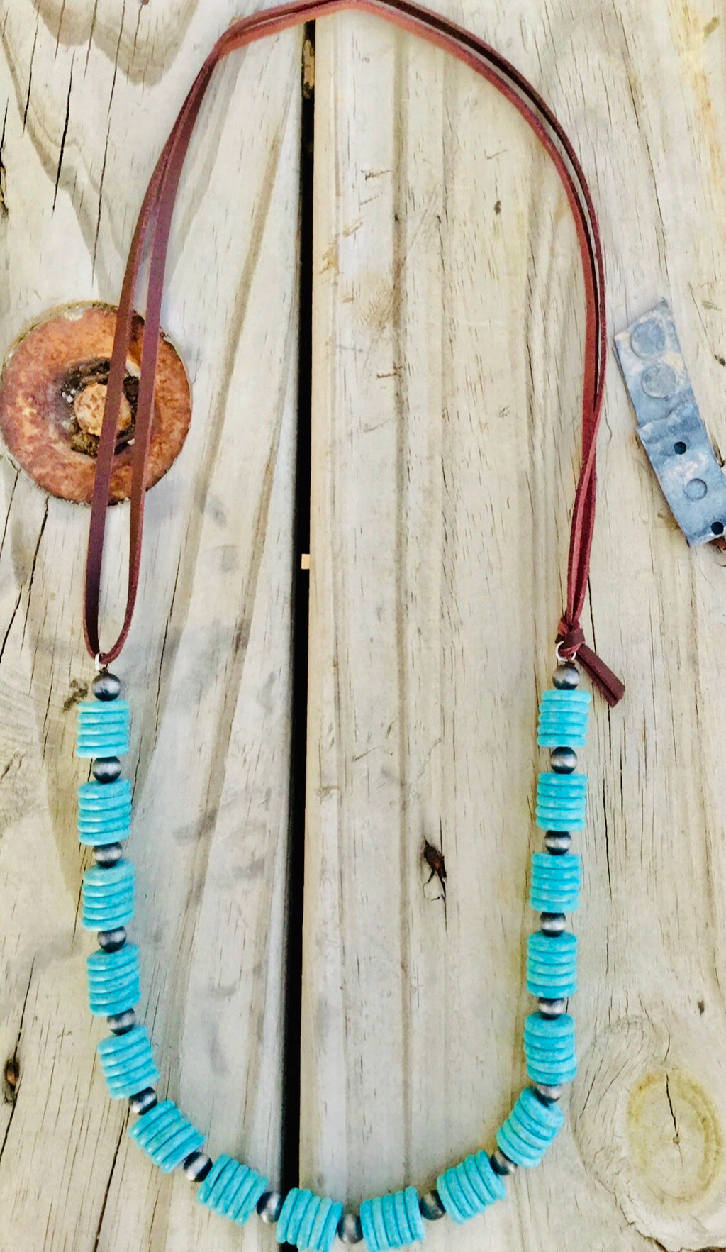 The Silva Turquoise & Silver on Leather Necklace
