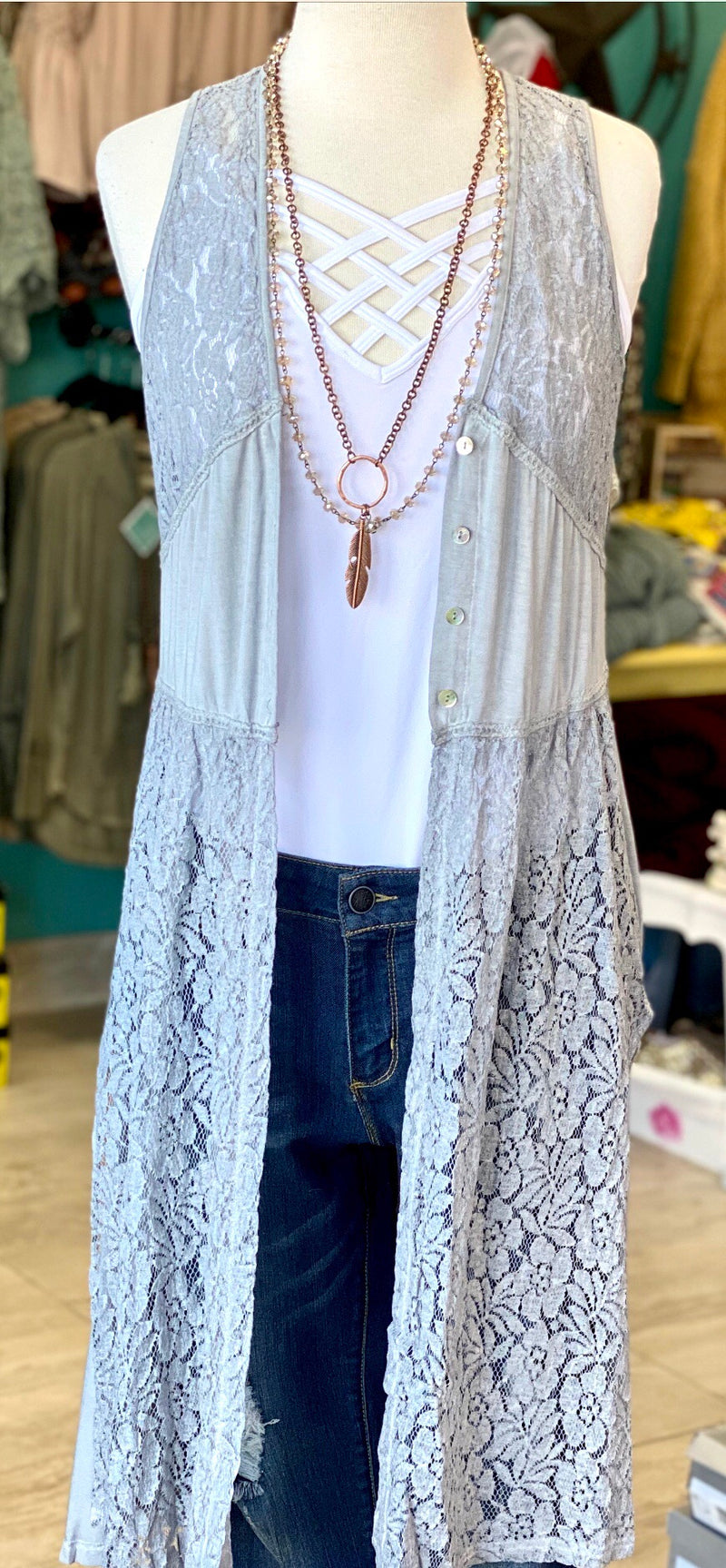 The Dolly Lace Pretty Kimono Duster Vest