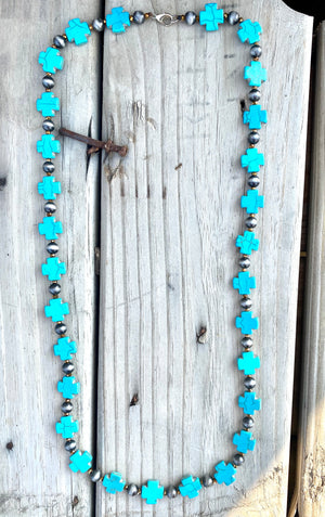 The Turquoise Cross & Silver Necklace