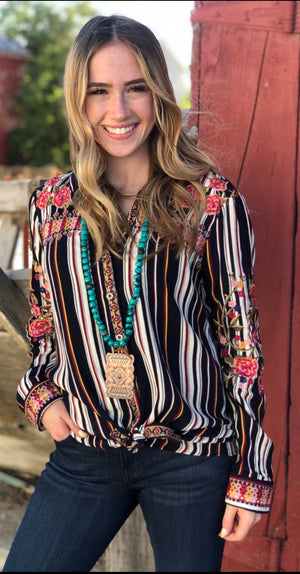 The Santa Barbara Embroidered Stripe Top
