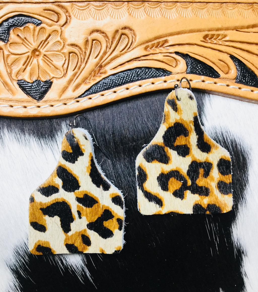 Hair On Cheetah Cow Tag Earring