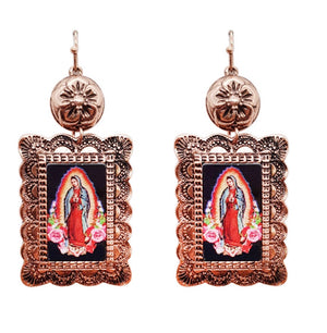 The Copper Concho Lady Of Guadalupe Earrings