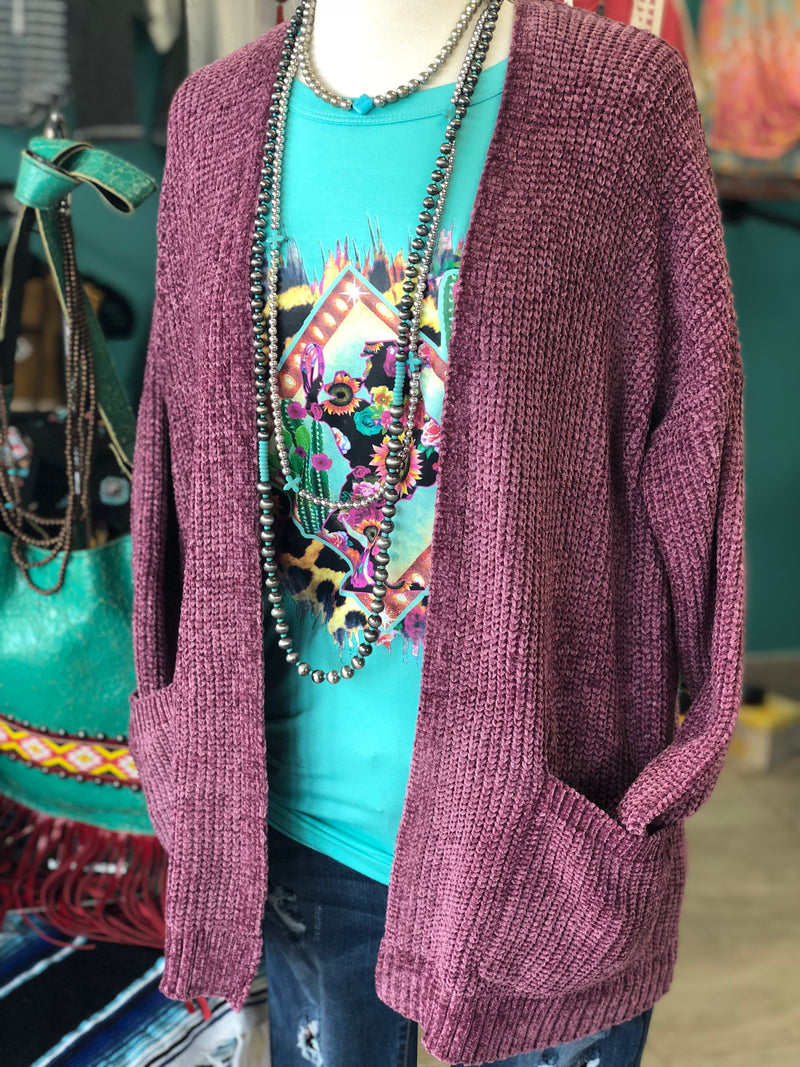The Roseburg Chenille Sweater Cardigan