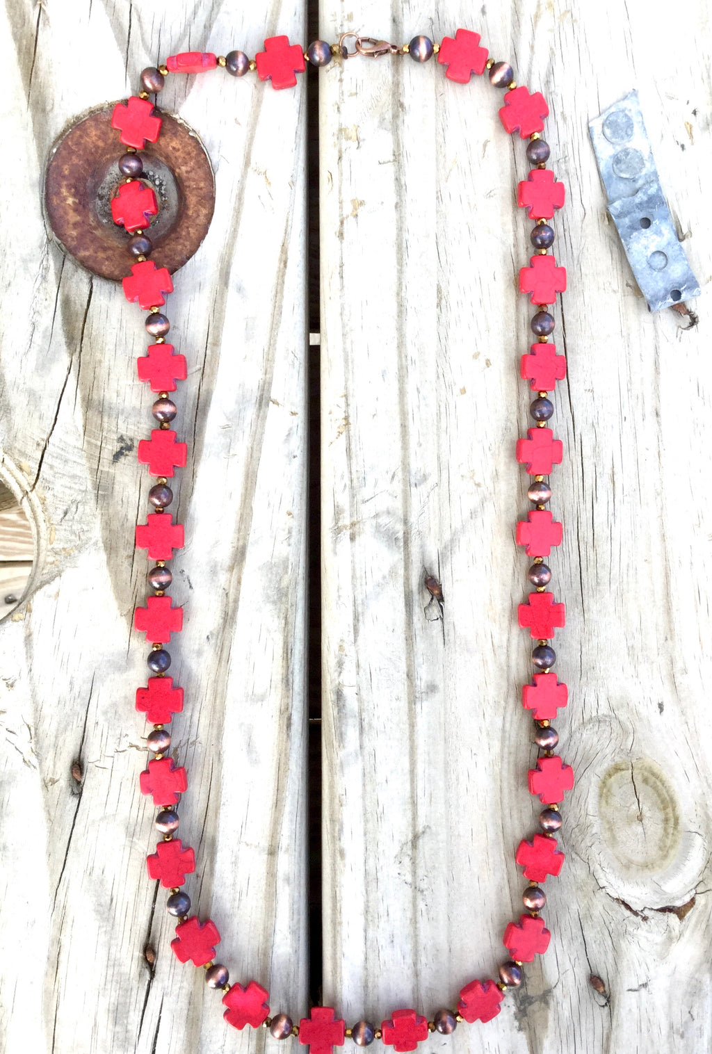 The Red Cross & Copper Necklace