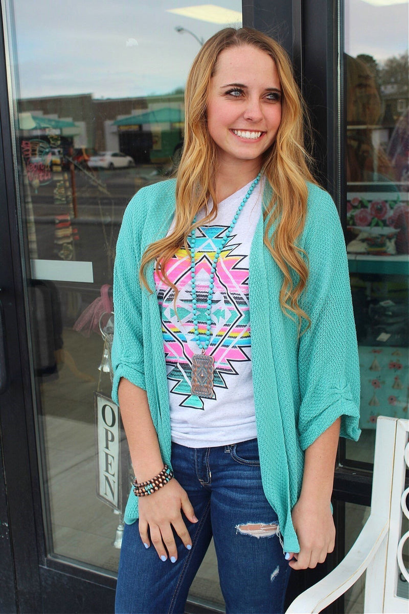 The Atascadero Spring Mint Sweater Cardigan