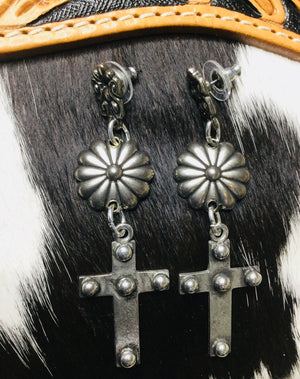 Crosses and Silver Concho Earrings