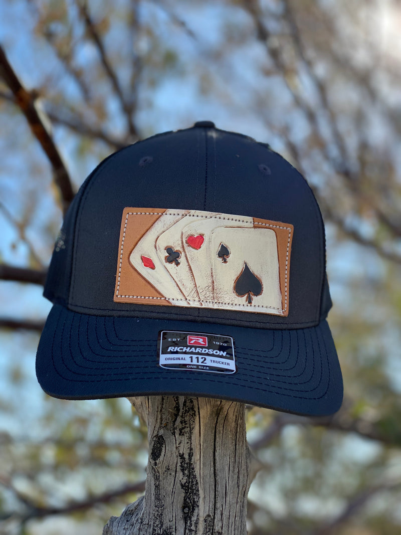 The Aces High Leather Patch Cap