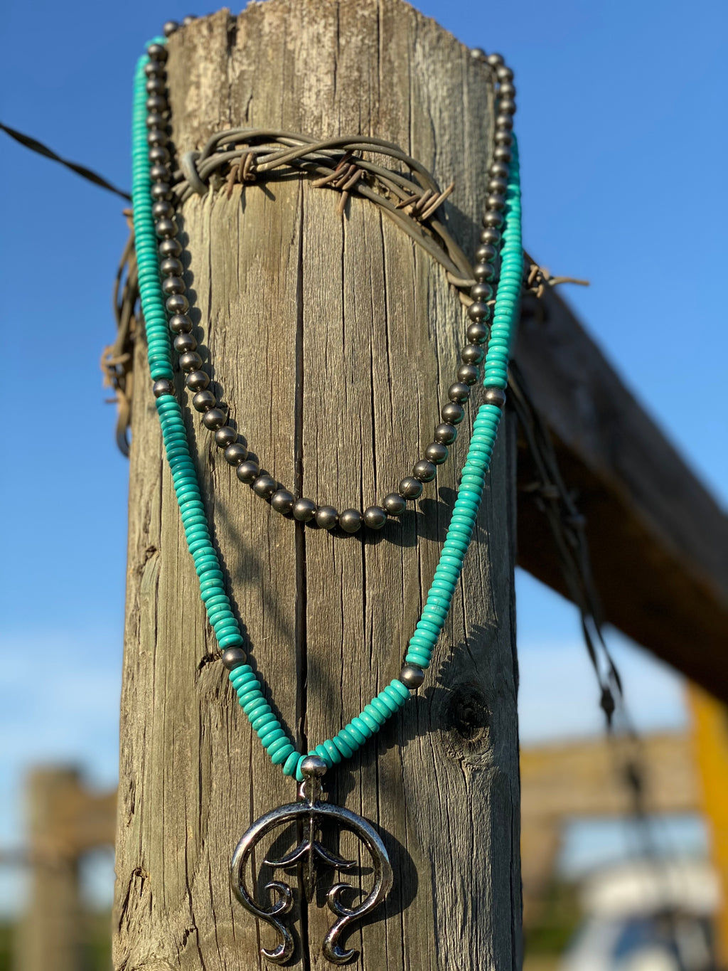 The South Of Rio Turquoise Squash Blossom Necklace