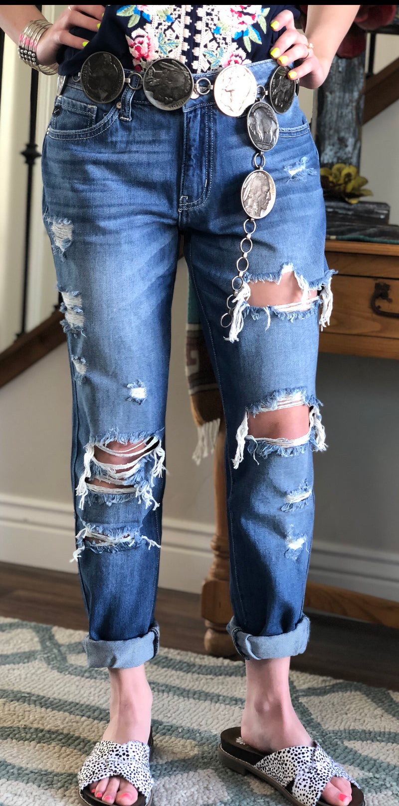 The Della Distressed Boyfriend Skinnies