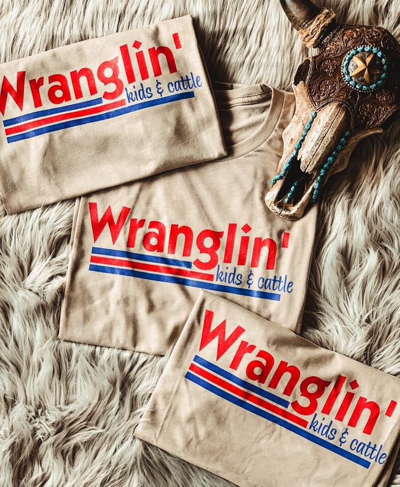 Wranglin Kids & Cattle Tee