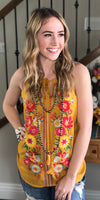 Imara's Mustard Embroidered Sleeveless Top