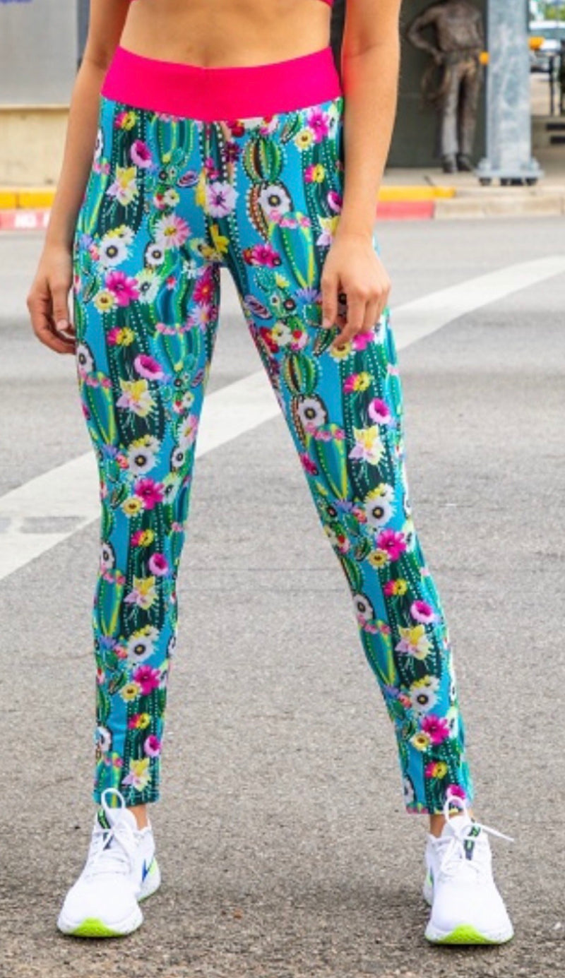 The Fun Cactus Floral Active Wear Leggings!